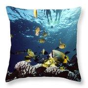 Molokini Snorkeling Couple Throw Pillow