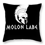 Molon Labe Spartan Warrior Helmet Throw Pillow