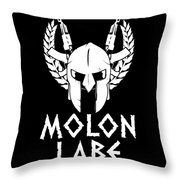 Molon Labe Spartan Warrior Helmet Rifles Throw Pillow