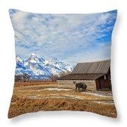 Molten Barn And Tetons 4 Throw Pillow