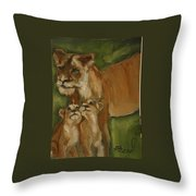Mom And Babies Throw Pillow