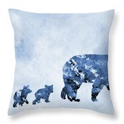 Mom And Baby Bears-blue Throw Pillow