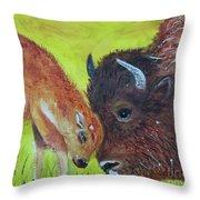 Mom And Baby Buffalo Calf Throw Pillow