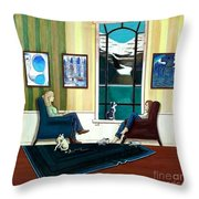 Mom And Daughter Sitting In Chairs With Sphynxes Throw Pillow
