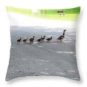 Mom And Her Ducklings Throw Pillow