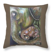 Mom And Kid Throw Pillow