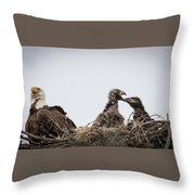 Mom And Little Eaglets Throw Pillow