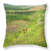 Mom And The Twins Throw Pillow