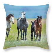 Mom, Dad, And Two Colts Throw Pillow