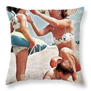 Mom With Girls At Beach Throw Pillow