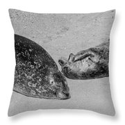 Momma And Baby  Black And White Throw Pillow