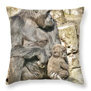 Momma And Baby Gorilla Throw Pillow