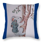 Momma And Baby Koala Throw Pillow
