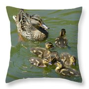 Momma Duck With Babies Throw Pillow