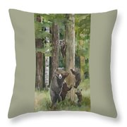Momma With 4 Bear Cubs Throw Pillow