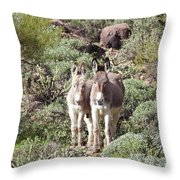 Mommy And Baby Burro Throw Pillow