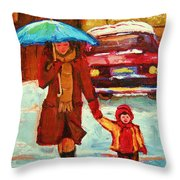 Moms Blue Umbrella Throw Pillow