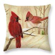 Mom's Favorite Redbirds Throw Pillow