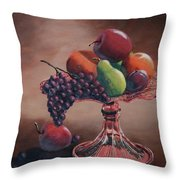 Mom's Pink Dish With Fruit Throw Pillow