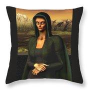 Mona Lisa Aien Throw Pillow