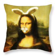 Mona Lisa Bunny Throw Pillow