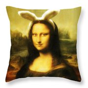 Mona Lisa Easter Bunny Throw Pillow
