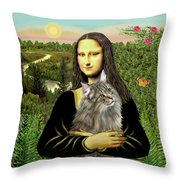 Mona Lisas Norwegian Forest Cat Throw Pillow