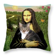 Mona Lisa's Tri Color Cat Throw Pillow