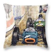 Monaco Gp 1964 Brm Brabham Ferrari Throw Pillow by Yuriy  Shevchuk