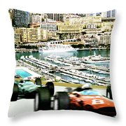 Monaco Grand Prix Racing Poster - Original Art Work Throw Pillow