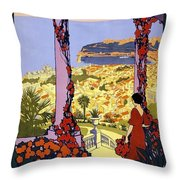 Monaco, Monte Carlo, View From Hotel Terrace Throw Pillow