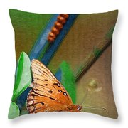 Monarch And Caterpillar Throw Pillow