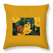 #002 Monarch Bumble Bee Sharing Throw Pillow
