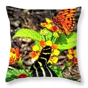 Monarch Butterfly And Zebra Butterfly Throw Pillow