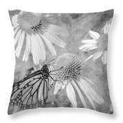 Monarch Butterfly In Black And White Throw Pillow
