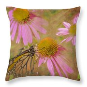 Monarch Butterfly In Pink Throw Pillow