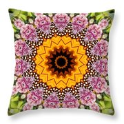 Monarch Butterfly On Milkweed Kaleidoscope Throw Pillow