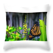 Monarch Butterfly Poised On Green Stem Among Yellow Flowers Throw Pillow