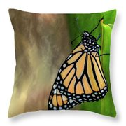 Monarch Butterfly Poised On Green Stem Throw Pillow