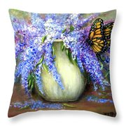 Monarch Of The Lilacs Throw Pillow