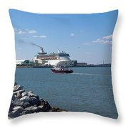 Monarch Of The Seas At Port Canaveral In Florida Throw Pillow