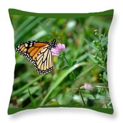 Monarch On Clover Throw Pillow