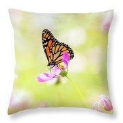Monarch On Cosmos Throw Pillow
