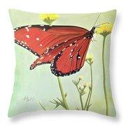 Monarch On Milkweed Throw Pillow