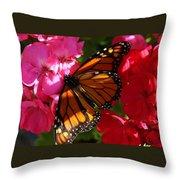 Monarch On Summer Geraniums Throw Pillow