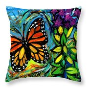 Monarch With Milkweed Throw Pillow