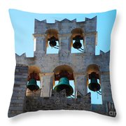 Monastery Bell Tower On Patmos Island Greece Throw Pillow