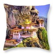 Monastery In Bhutan Throw Pillow