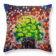Monday Flowers Throw Pillow