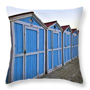 Mondello Beach Cabanas Throw Pillow
